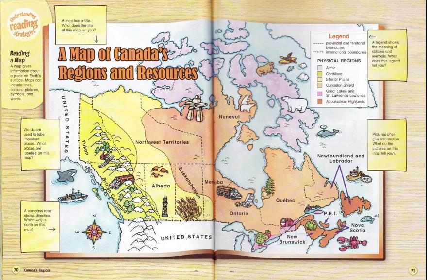 Digital Learning Unit Plan Grade Social Stu Mind Map - Physical canada map