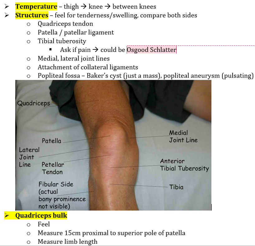 6 hip amp knee examination mind map temperature surface anatomy pop fossa bakers cyst aneurysm bulk offer to measure anterior effusions patella tap bulge test ccuart Images